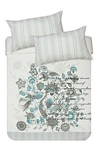 PRINT AND EMBROIDERED FLORAL DUVET COVER SET