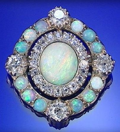 OPAL AND DIAMOND BROOCH, CIRCA 1880