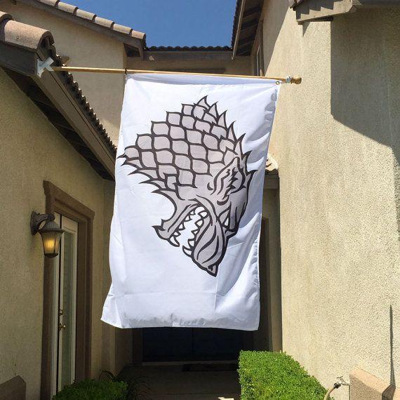 House Stark Banner Flag  White 3' x 5' by OMGCoolStuff on Etsy