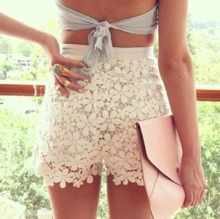 crochet shorts and pastel envelope clutch