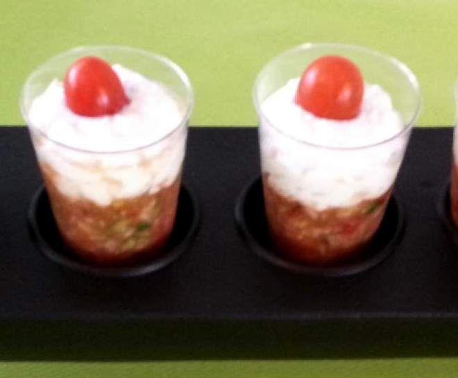 Recette Verrine de tartare de tomates courgette et chèvre échalote ciboulette par stephaloulou - recette de la catégorie Entrées