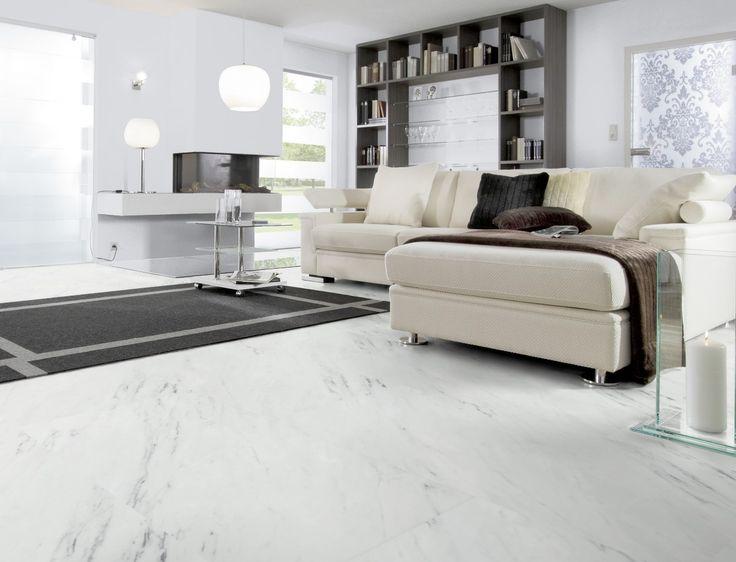 "Dalle PVC clipsable imitation marbre | Wineo 800 Stone XL ""White Marble"" - BRICOFLOR"