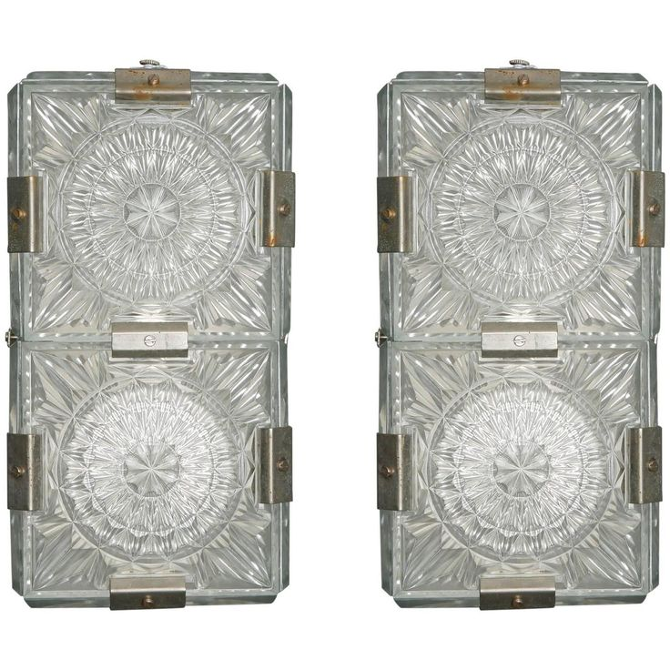 Pair Midcentury Kalmar Wall Lights of Clear Molded Glass Panels | From a unique collection of antique and modern wall lights and sconces at https://www.1stdibs.com/furniture/lighting/sconces-wall-lights/