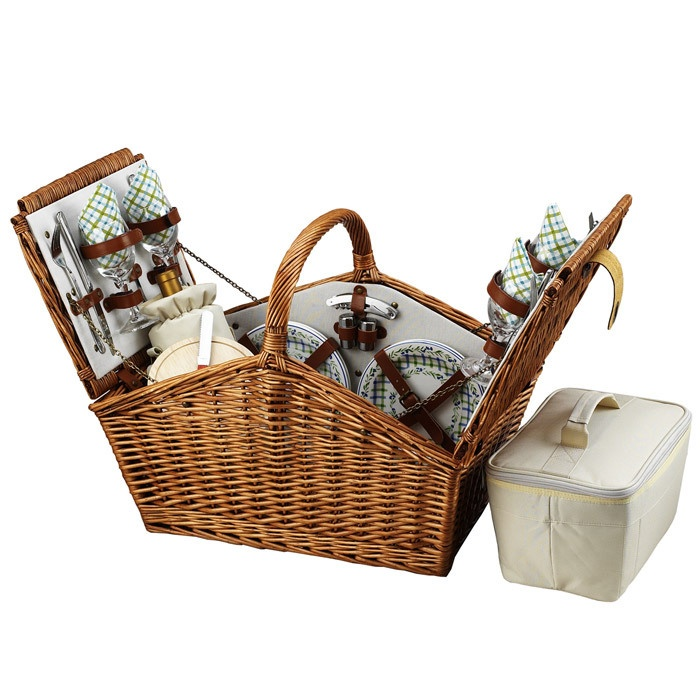 Believe it or not, we don't yet own a picnic basket.  I'm asking him for one for our next anniversary... ***edit***we just got a picnic basket AND IT LOCKS!!!  I can't wait to take it on a picnic!