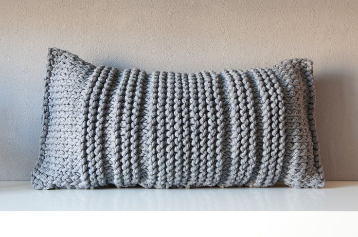 Grey knitted pillow. €28,50, via Etsy.