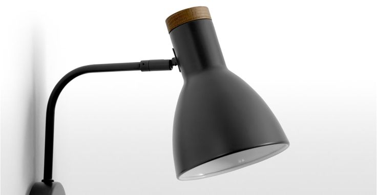 14_Cohen Wall Lamp, Deep Grey and American Oak | made.com