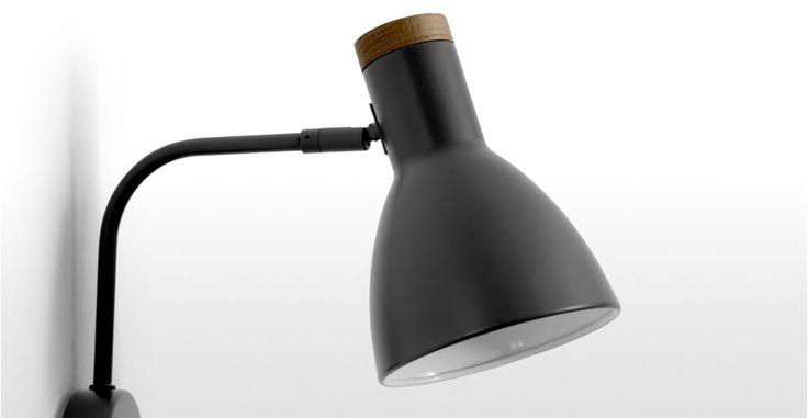 14_Cohen Wall Lamp, Deep Grey and American Oak | made.com