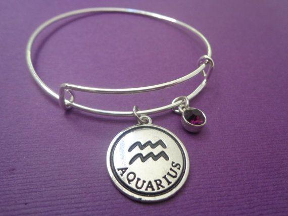Zodiac Jewelry ~ Aquarius Bracelet , February Amethyst Birthstone Jewelry , Aquarius Birthday Gift , January Finds, Astrology gift for her #zodiac #birthstone #birthday
