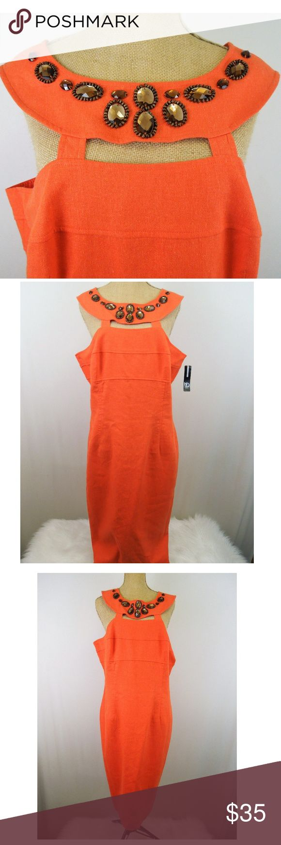 Women Sz 16 Sleeveless Dress by NEW DIRECTIONS Brand: ND, New Directions Tag Size: Women 16 Color: Tangerine Orange Material: Linen and Rayon Style:1M4125 Retail: $100.00 Measurements are taken straight across and flat:  Length: 33 Hem: 21 Underarm to Underarm: 19 Waist: 18.5 (19.5 max stretch) Hip: 22.5 Fully lined Concealed back zip Back seam split Empire waist Banded bodice Cut out neckline Beautiful wood beading and sparkly amber stones, which are sewn into fabric This is SUCH a…