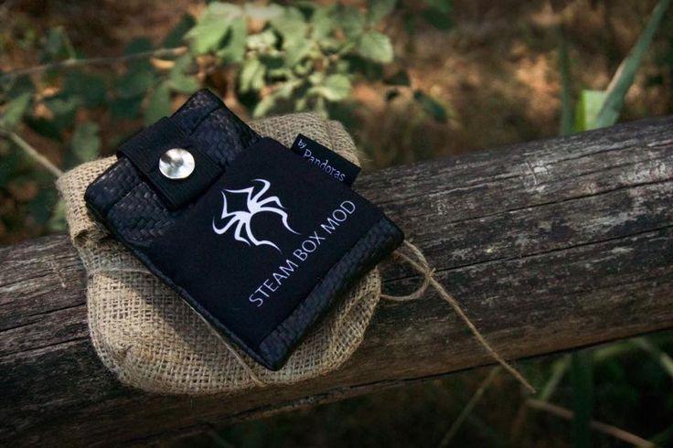 Pandoras black carbon belt pouch Steam Box Mod logo