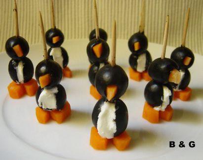 Un aperitivo divertido: pingüinos de aceitunas y queso   Recetas para niños