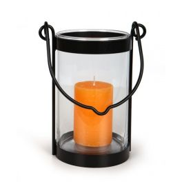 Metal lantern with a folding wire handle and a glass cylinder.