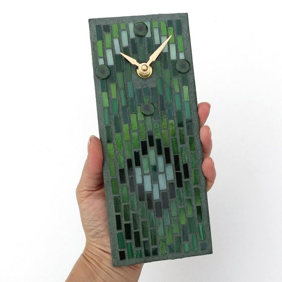 Small Wall Clock Green Clock Artisan Stained Glass by MosaicSmith