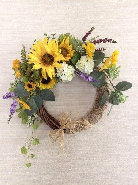 No.wreath-14592/玄関リース/アートフラワー・リース42x38cm/ひまわりのリース(17)|フラワー・リース|pieceofla|ハンドメイド通販・販売のCreema