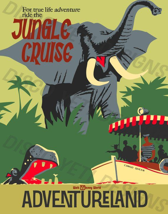 Jungle Cruise Vintage Disney Wdw Poster Etsy Disneyland Vintage Poster Vintage Disney Posters Disney Posters