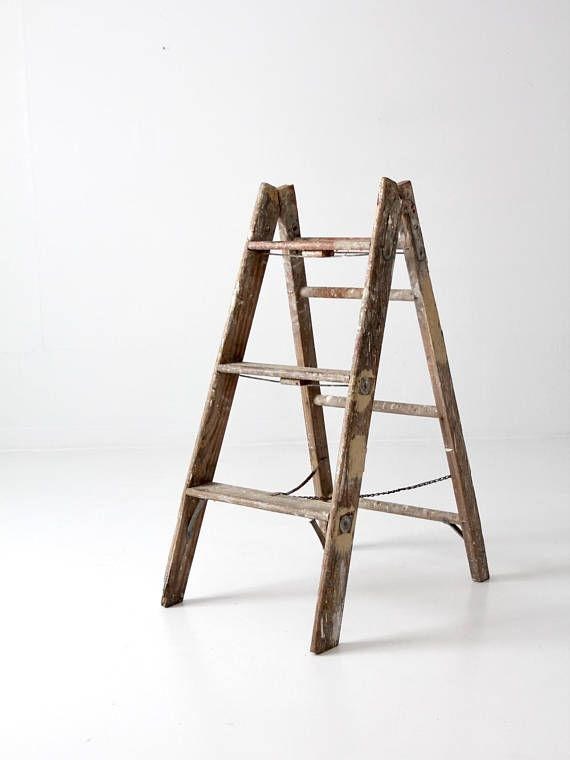 This Is A Vintage Wooden Folding Ladder Paint Splatter And Drips Color The Short Wood Ladder It Features A Sl Old Wooden Ladders Wooden Ladder Folding Ladder