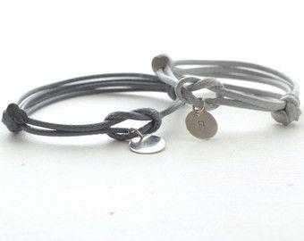 Paare Knoten Armband - erste Liebhaber verknotete Armband - seine und ihre Baumwoll-Armband - Single Wrap Armband, Paare Schmuck, Männer Frauen