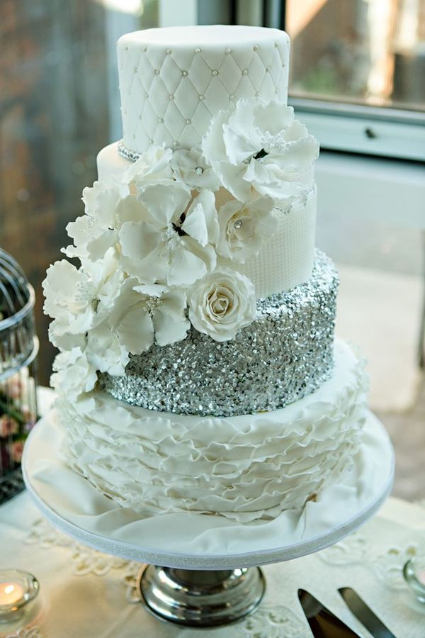 vintage glam silver glittery wedding cake with floral details