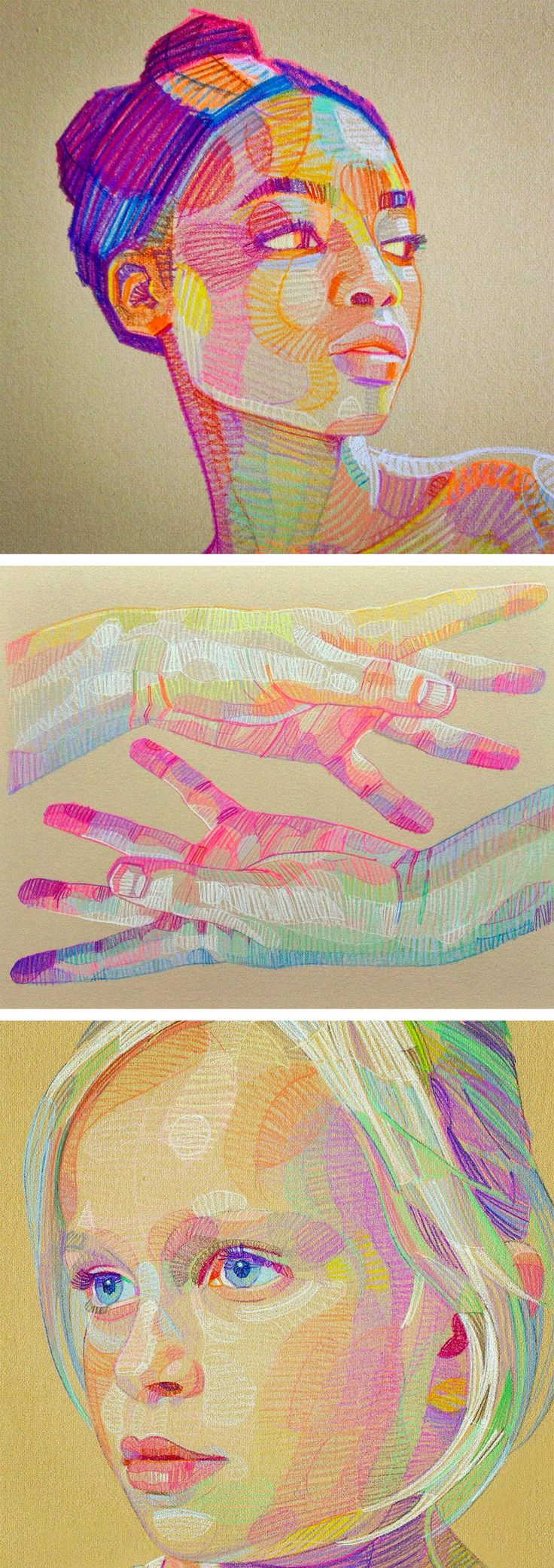 prismatic sketches of hands and faces by lui ferreyra - Color Drawings