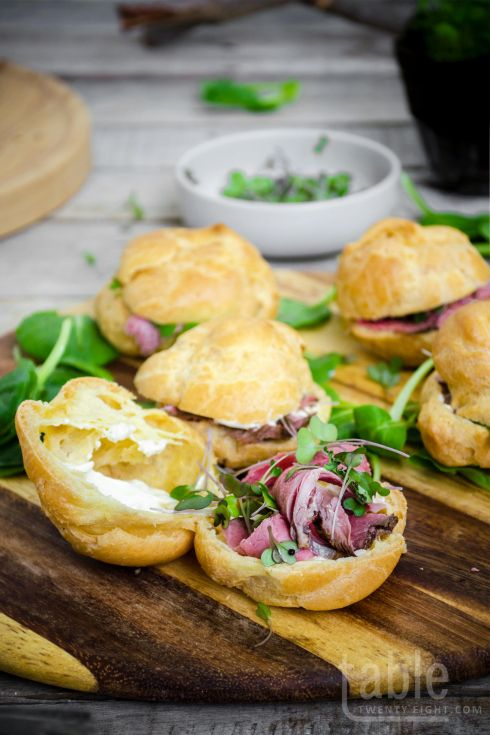 Pears With Roast Beef And Horseradish Cream Recipe — Dishmaps