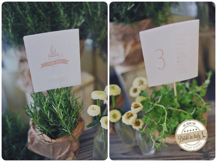 Herbs pots are a great idea as a seating chart placeholder, ph by L&V Photography http://www.brideinitaly.com/2013/09/landvkm0.html #rustic