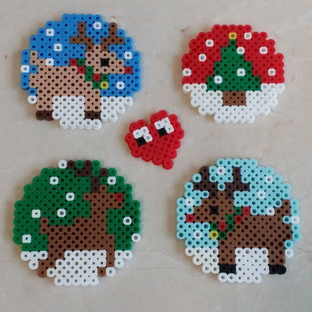 Christmas ornaments perler beads by jina.choi85.