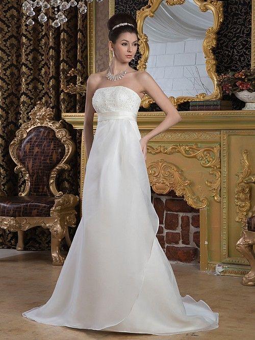 Rafelle - stile impero lisci scollo abito da sposa in raso con perline
