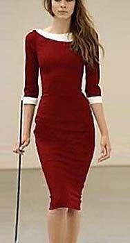 Point 3/4 Sleeve Midi Dress, boat neck in wine & white