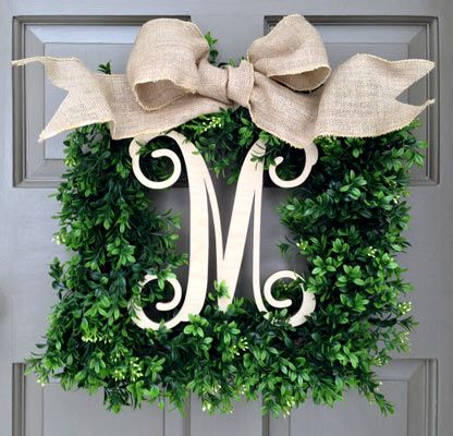 Monogram Square Faux Boxwood Wreath (1-italics-natural) - Creative Decorations by Ridgewood Designs