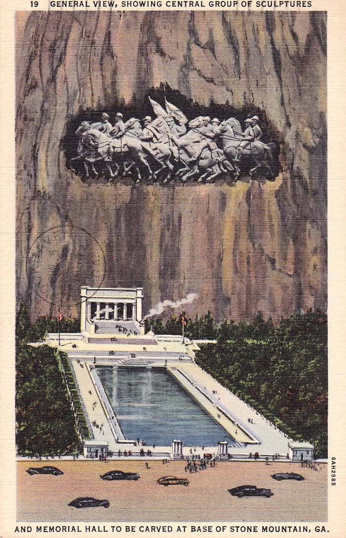 Stone mountain sculpture and memorial hall as originally