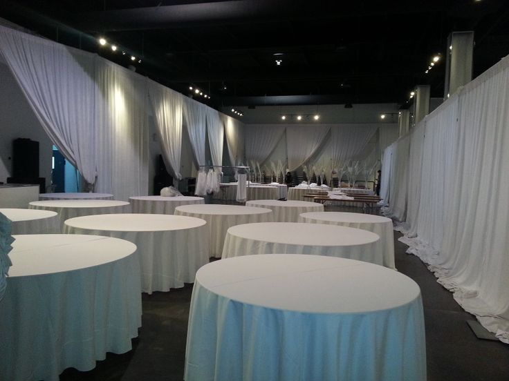 Setting up for a party at The Warehouse Event Venue. All tables & chairs come included in the rental.  (www.thewarehousevenue.com), Toronto Venue