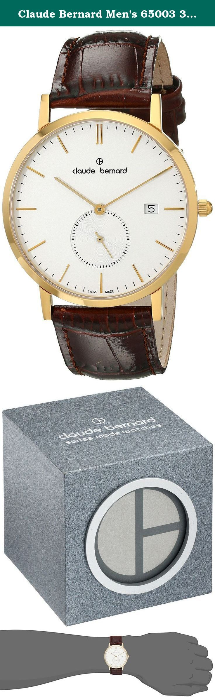 Claude Bernard Men's 65003 37J AID Classic Small Second Analog Display Swiss Quartz Brown Watch. This Swiss Made Claude Bernard dress watch features an easy-to-read white dial with a small seconds sub-dial at 6:00 on the dial. Gold tone hands and hour markers display the time. The watch is powered by a Swiss Ronda 6004.D quartz movement so you are always on time for an appointment. The 40mm stainless steel case is only 8mm thick, so it easily slides under a shirt cuff. This watch will…
