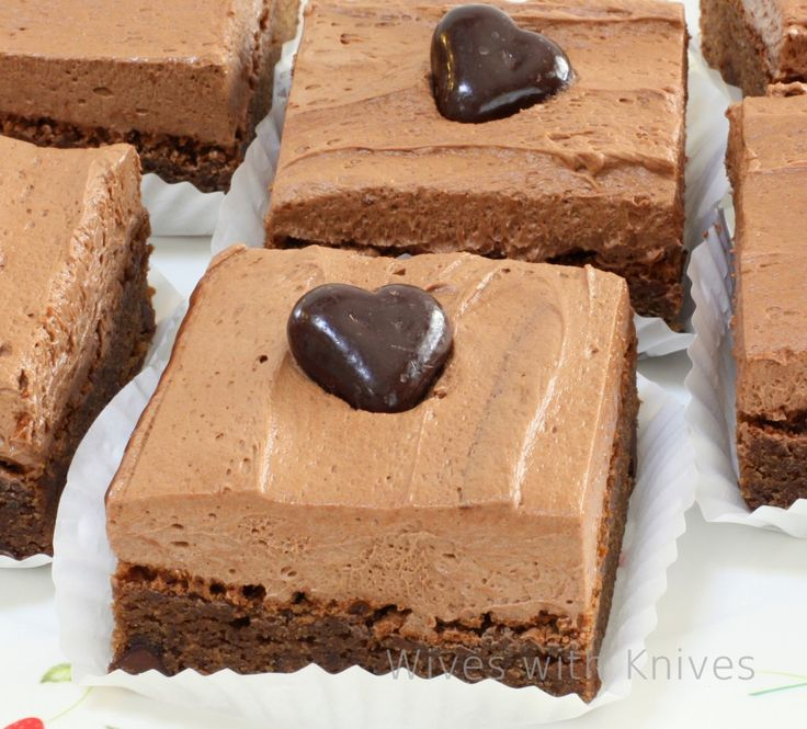 Chocolate Fudge Brownies w/ Chocolate Buttercream Frosting.  Don't they look good.