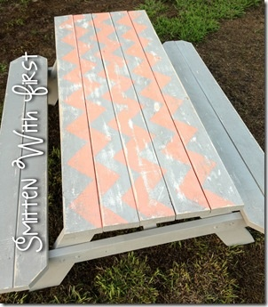 chevron picnic table - idea for the porch able, done with wood stain