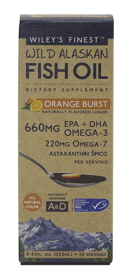 Wiley's Finest - Orange Burst Liquid Fish Oil (660mg EPA DHA per tsp), 50 servings, $24.99 (http://wileysfinest.com/orange-burst-liquid-fish-oil-660mg-epa-dha-per-tsp-50-servings/)