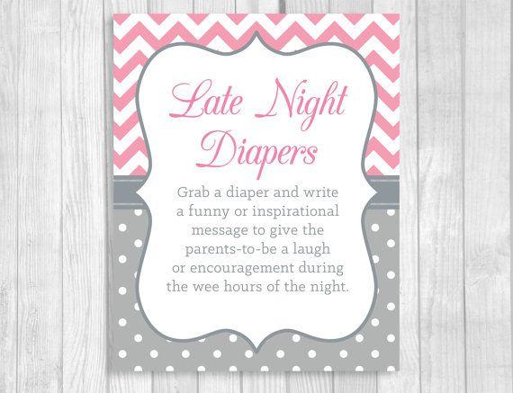 Printable 8x10 Late Night Diapers Baby Shower by WeddingsBySusan