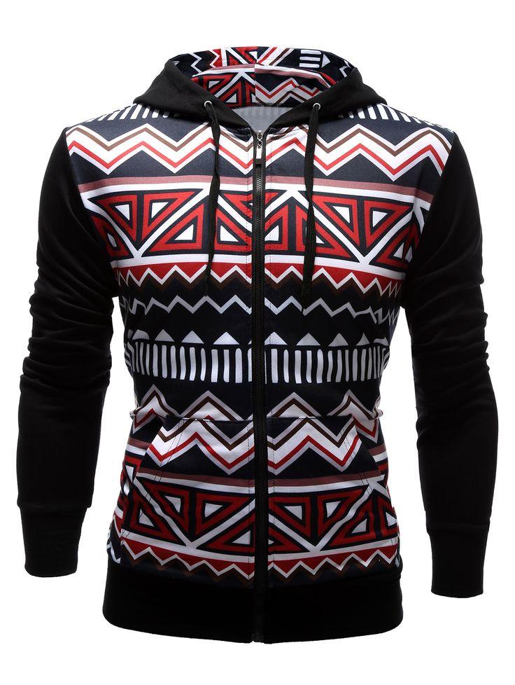$22.95 Zigzag Pattern Pocket Zip Up Hoodie