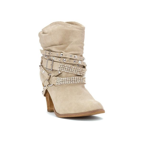 Not Rated Swanky Boot Mid-Calf Boots ($80) ❤ liked on Polyvore featuring shoes, boots, cream, mid-calf boots, rock boots, mid calf cowboy boots, sparkly cowboy boots and cowboy boots