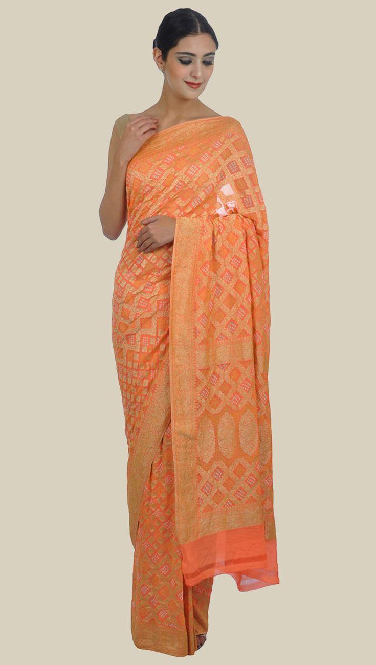 Coral Orange Banarasi Zari Bandhej Pure Georgette Saree