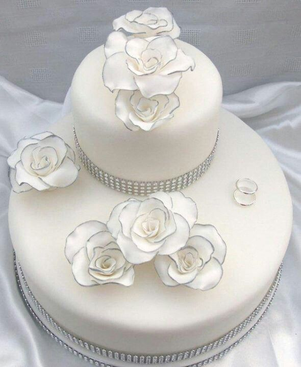 Pretty silver trim wedding cake
