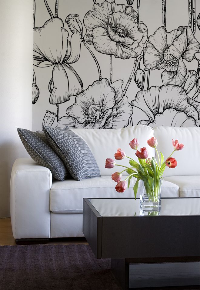 25 best ideas about flower mural on pinterest paint - Flower wallpaper mural ...