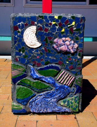 Auckland NZ Pt Chevalier School: Series of three pots - midday - sunset - night Hand made clay tiles