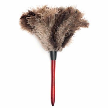 Ostrich Feather Home Cleaning Duster Brush Wood Handle Anti-static Natural Grey Fur