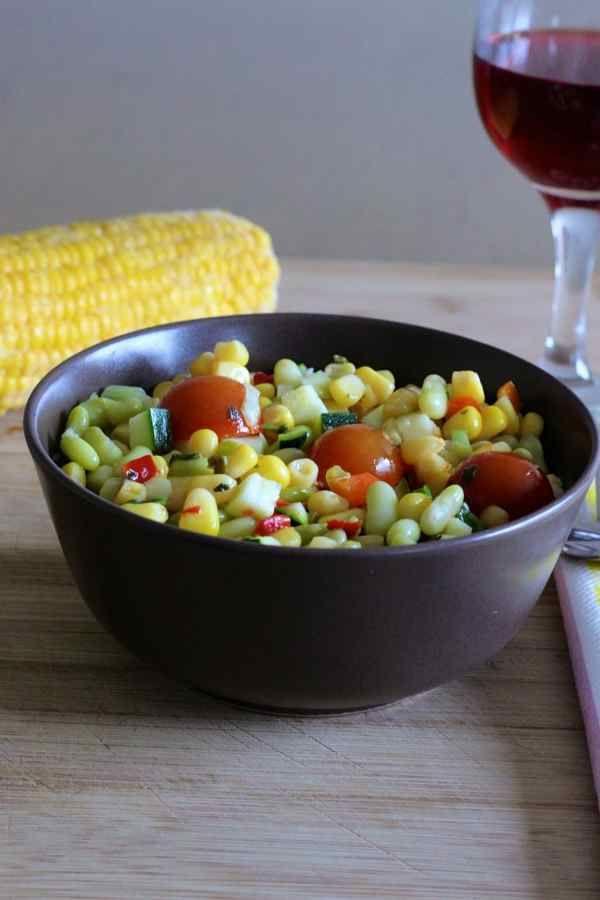 Succotash (recette traditionnelle américaine principalement à base de haricots de Lima et de maïs incontournable des pique niques et barbecues)
