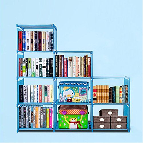 Cosway DIY Adjustable Home Furniture Bookcase Storage with 9 Book Shelves 15.8 x 11.7 x 10.9''( L X H X W) (blue)  Barrier material: Waterproof Non-woven,Pipe Material: PP, Metal  Per shelf size: 15.8 x 11.7 x 10.9''( L X H X W), Bookcase height: 48.4''  Easy to assemble, repeated disassembly use. eco-friendly PP material, can be cleaned with water directly  It can hold items range from pantry items, folding clothes and shoes to books, toys, artworks and fabric drawers; 3 top fabric sh...
