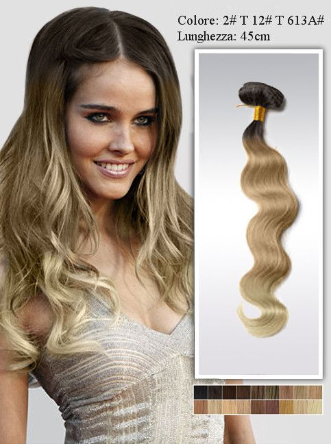 ombre hair 45cm Extension a Clip Capelli Remy Indiani