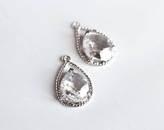 2994 Silver drop pendant 20x12 mm Crystal pendant Rhodium