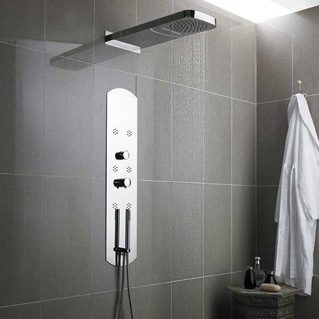 hudson reed interval chrome recessed thermostatic shower tower with 6 bodyjets - Recessed Panel Bathroom Decoration