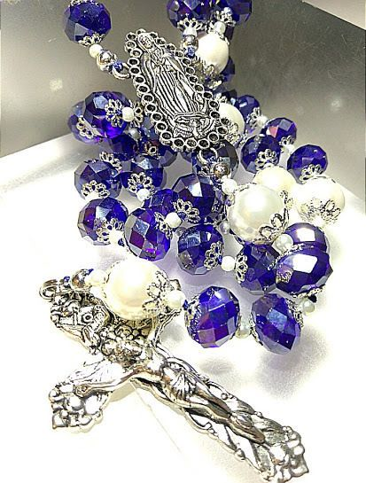 ANTIQUE VINTAGE STYLE 15MM SAPPHIRE AB BLUE CRYSTAL WHITE PEARL SILVER ROSARY