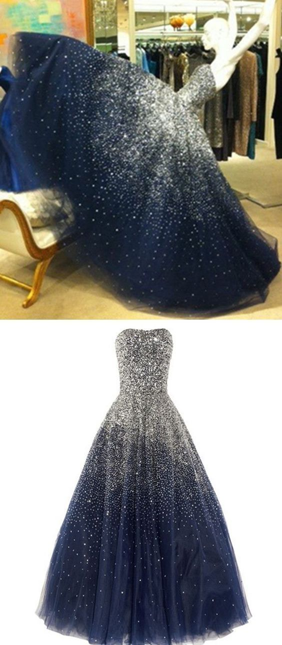 Princess Ball Gown Strapless Navy Blue Prom Dress With Sparkle Sequins Corset Back Tulle Long Dark Navy Prom Gown For Teens